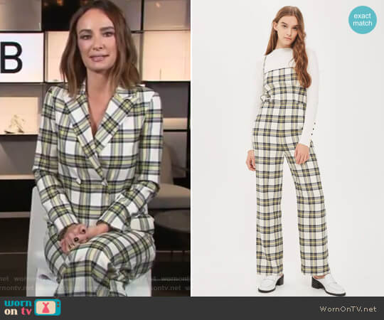 Checked Bustier Jumpsuit by Topshop worn by Catt Sadler on E! News