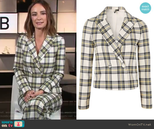 Checked Crop Jacket by Topshop worn by Catt Sadler on E! News