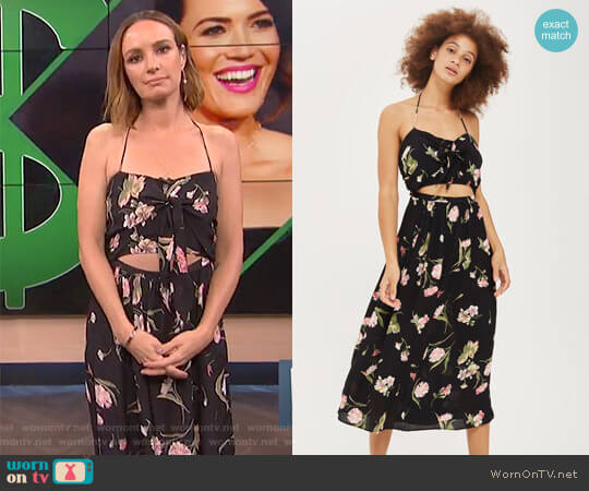 Floral Bow Front Halter Dress by Topshop worn by Catt Sadler  on E! News