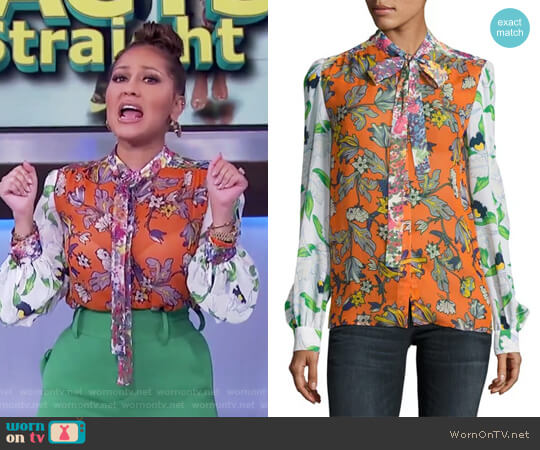 Kia Tie-Neck Graphic-Print Silk Blouse by Tory Burch worn by Adrienne Houghton on The Real