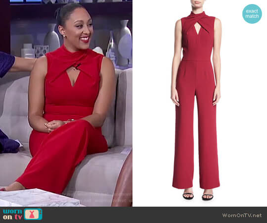Contessa Sleeveless Straight-Leg Jumpsuit by Trina Turk worn by Tamera Mowry  on The Real
