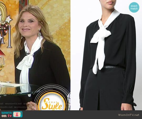 Presley Tie Neck Blouse by Veronica Beard worn by Jenna Bush Hager on Today