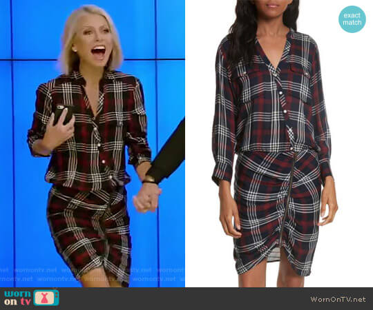 'Emory' Ruched Cargo Shirtdress by Veronica Beard worn by Kelly Ripa on Live with Kelly & Ryan