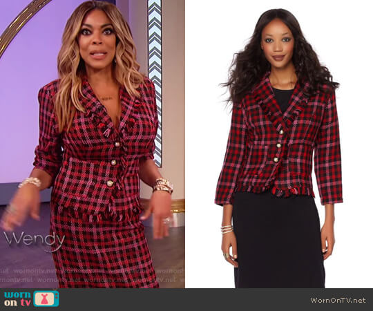 Boucle Jacket with Faux Pearl Buttons by Wendy Williams HSN Collection worn by Wendy Williams on The Wendy Williams Show
