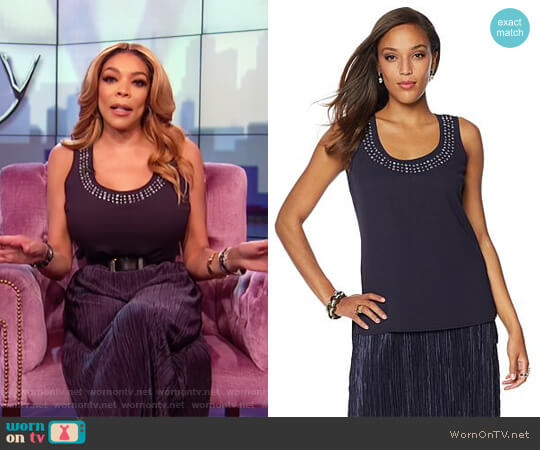Navy embellished neckline tank top by Wendy Williams HSN Collection worn by Wendy Williams on The Wendy Williams Show