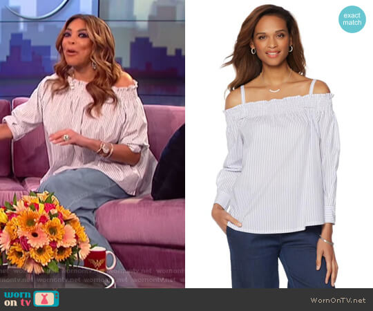 Off-the-Shoulder Striped Top with Removable Straps by Wendy Williams HSN Collection worn by Wendy Williams  on The Wendy Williams Show