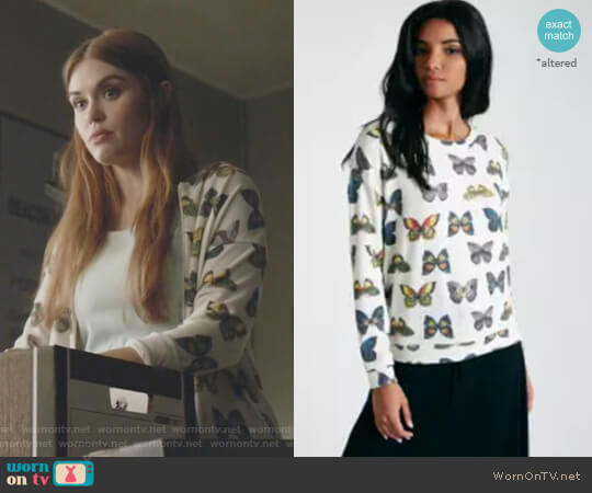 Butterfly Print Long Sleeve Brushed Knit Pullover by Wet Seal worn by Holland Roden on Teen Wolf