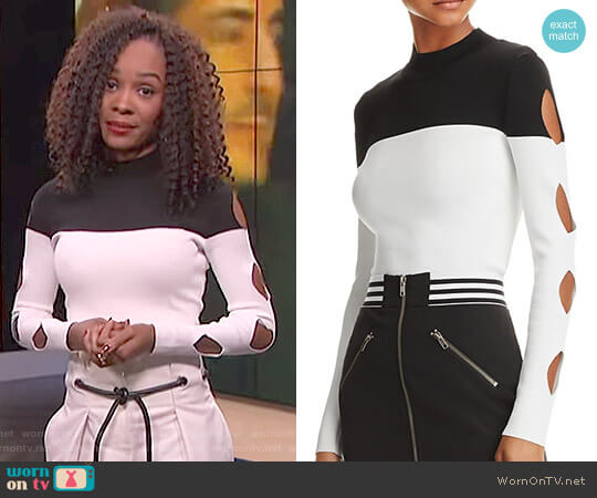 Cutout Color-Block Sweater by Yigal x Aqua worn by Zuri Hall  on E! News