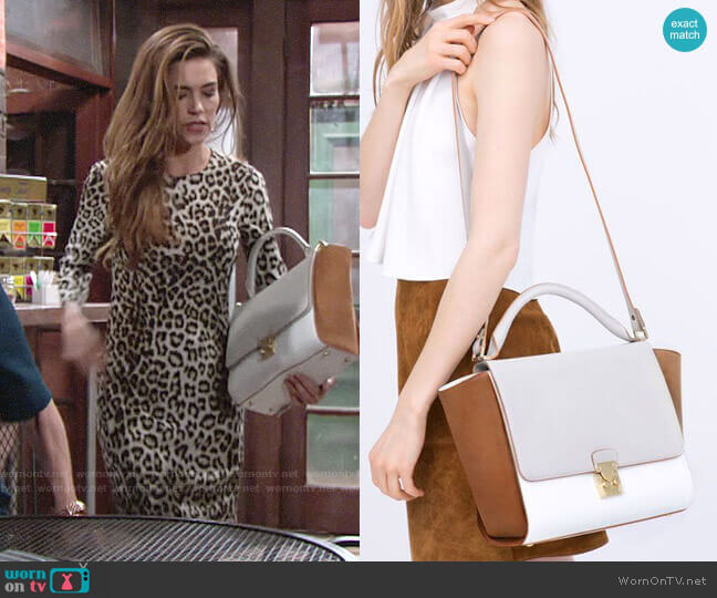 Zara Combined City Bag with Buckle worn by Victoria Newman (Amelia Heinle) on The Young & the Restless