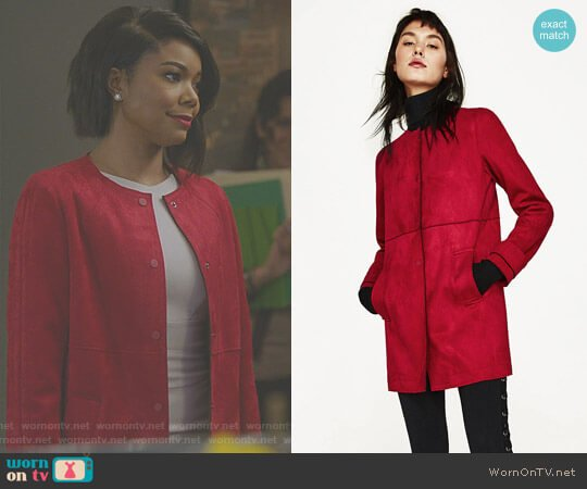 Faux Suede Coat with Round Neck worn by Mary Jane Paul (Gabrielle Union) on Being Mary Jane
