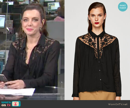 Flowing Shirt with Lace by Zara worn by Melanie Bromley  on E! News