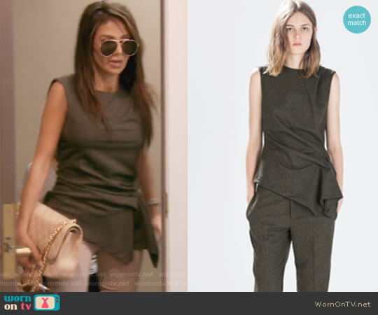 Green Side Gathered Sleeveless Top by Zara worn by Peggy Sulahian (Peggy Sulahian) on The Real Housewives of Orange County