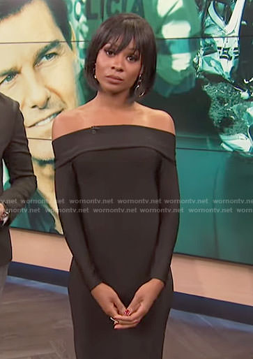 Zuri's black off-shoulder long sleeve dress on E! News