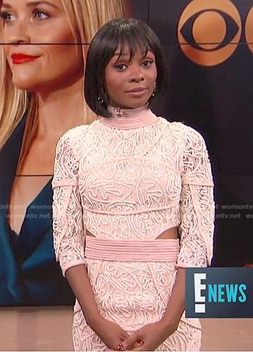 Zuri's pink roped cutout midi dress on E! News