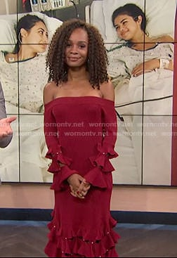 Zuri's red off-shoulder ruffle dress on E! news