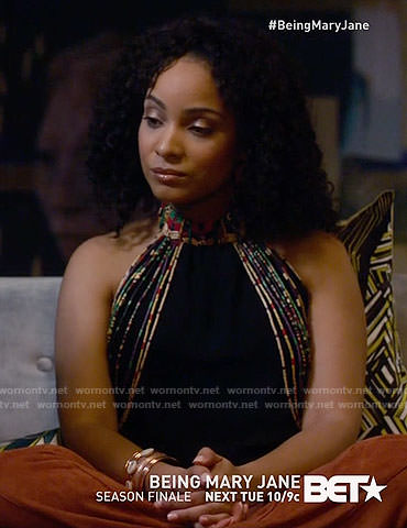 Aaliyah's black beaded top on Being Mary Jane