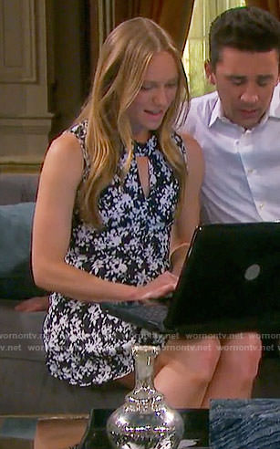 Abby's black and white floral keyhole cutout dress on Days of our Lives