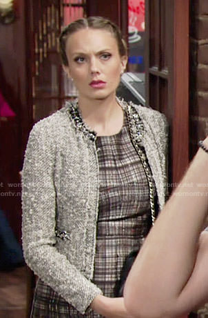 Abby's grey embellished tweed jacket on The Young and the Restless