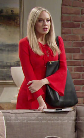 Abby's red lace-up dress on The Young and the Restless