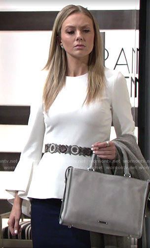 Abby's white peplum bell-sleeve top on The Young and the Restless