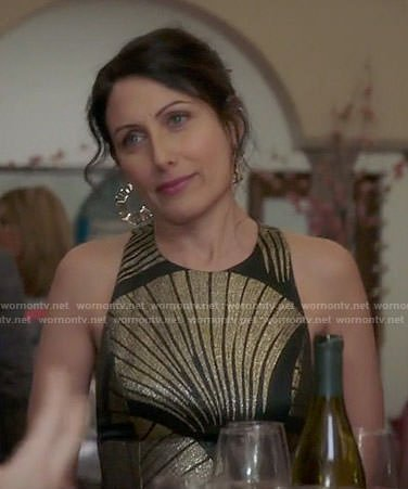 Abby's black and gold metallic midi dress on Girlfriends Guide to Divorce