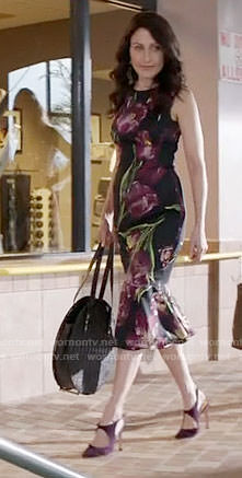 Abby's black tulip print dress on GG2D