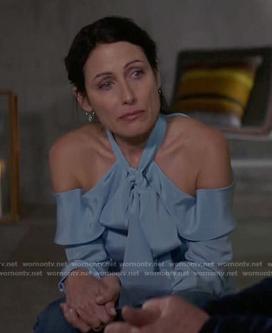 Abby's blue off-shoulder tie-neck blouse on Girlfriends Guide to Divorce