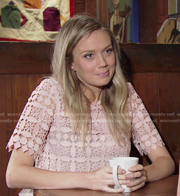 Abby's blush pink lace top on The Young and the Restless