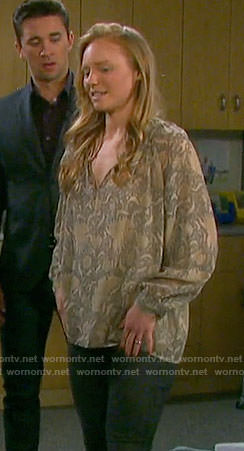 Abby's grey floral blouse on Days of our Lives