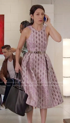 Abby's purple wavy pattern dress on Girlfriends Guide to Divorce