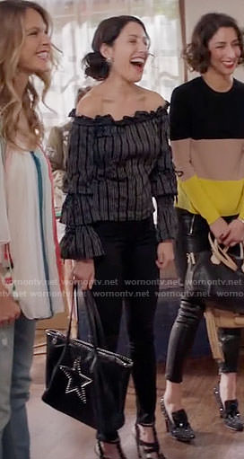 Abby's striped off-shoulder top on Girlfriends Guide to Divorce