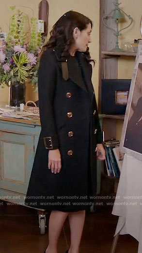 Abby's black coat with gold buttons on Girlfriends Guide to Divorce