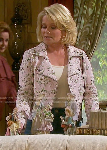Adrienne's pink floral moto jacket on Days of our Lives