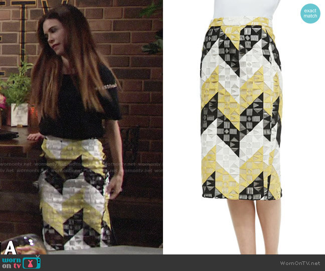 ALC Henri Skirt worn by Victoria Newman (Amelia Heinle) on The Young & the Restless