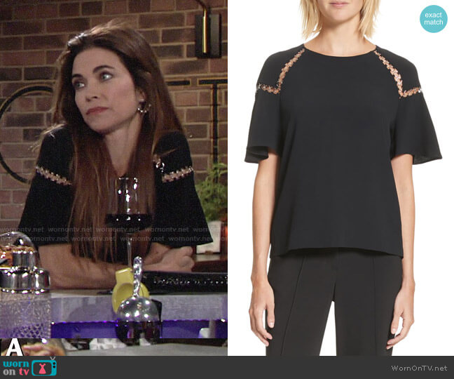 ALC Sheila Top worn by Victoria Newman (Amelia Heinle) on The Young & the Restless