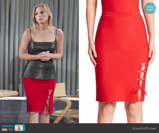 Alexander Wang Lace-up Slit Pencil Skirt worn by Phyllis Newman (Gina Tognoni) on The Young & the Restless