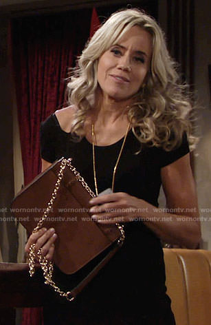 Alice's black dress with cutout shoulder on The Young and the Restless