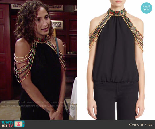 Alice + Olivia Breslin Top worn by Christel Khalil on The Young & the Restless