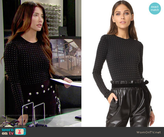 Alice + Olivia Britney Bodysuit worn by Steffy Forrester (Jacqueline MacInnes Wood) on The Bold & the Beautiful