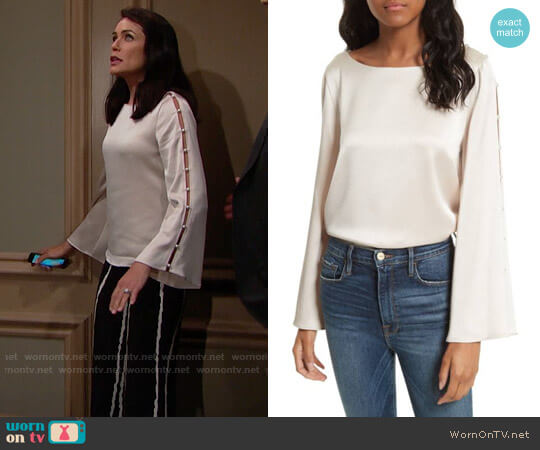 Alice + Olivia Genia Top worn by Quinn Fuller (Rena Sofer) on The Bold & the Beautiful
