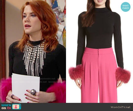 Alice + Olivia Haylen Top worn by Courtney Hope on The Bold & the Beautiful