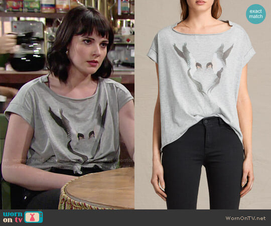 All Saints Lovebird Pina Tee worn by Cait Fairbanks on The Young & the Restless