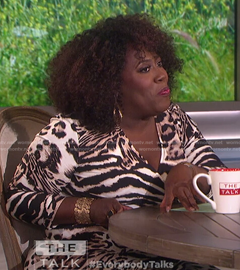 Sheryl's animal print wrap dress on The Talk