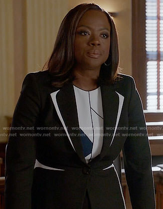 Annalise's black and white blazer on How to Get Away with Murder