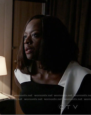 Annalise's black dress with white straps on How to Get Away with Murder