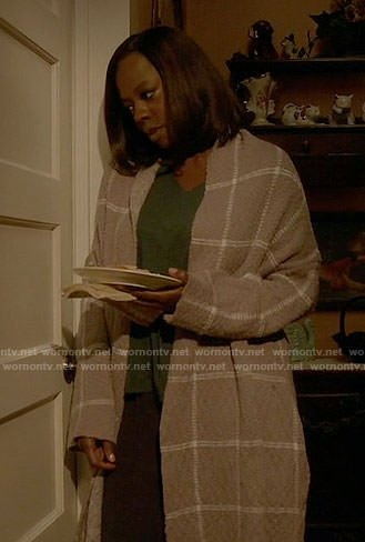 Annalise's grey windowpane cardigan on How to Get Away with Murder