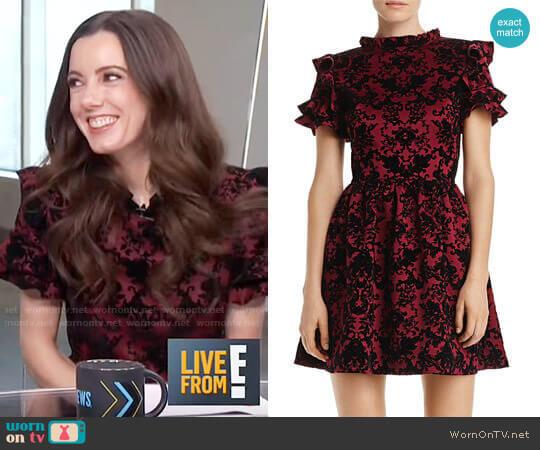 Flocked Ruffle-Sleeve Dress by Aqua worn by Melanie Bromley on E! News