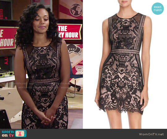 Aqua Fishnet Lace Dress worn by Mishael Morgan on The Young & the Restless