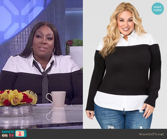 Off-Shoulder Sweater Shirt by Ashley Stewart worn by Loni Love  on The Real