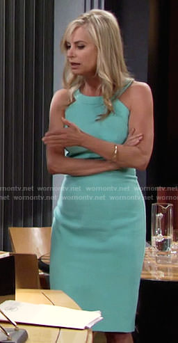 Ashley's aqua blue round neck dress on The Young and the Restless
